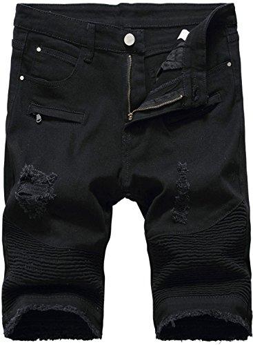 HENGAO Men's Moto Biker Ripped Slim Fit Denim Jeans Shorts, 3306 Black, W32 (Dark Jean Fit Denim Slim)