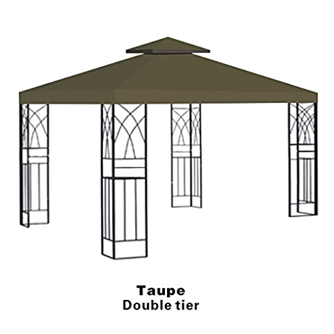STRONG CAMEL 2-Tier double tier Replacement Wedding Party Tent Cover 10'x10' Polyester Gazebo Canopy Top-taupe - Party Tent Replacement