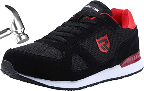 LARNMERN Work Steel Toe Shoes Safety Sneakers for Men Lightweight Industrial & Construction Shoe (12, Dark Black/Red)