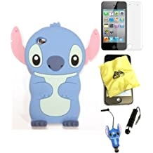 Bukit Cell ® 3D Disney Case Bundle - 5 items: BLUE 3D Cute Stitch Soft Silicone Case Cover for iPod Touch 4 4G 4th Generation + BUKIT CELL Trademark Lint Cleaning Cloth + Stitch Figure Anti Dust Plug Stylus Touch Pen + Screen Protector + METALLIC Stylus Touch Pen with Anti Dust Plug