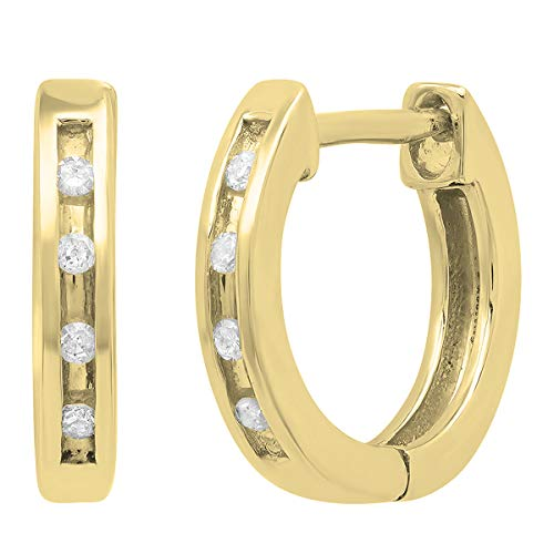 - Dazzlingrock Collection 0.05 Carat (ctw) 14K Round Diamond Ladies Huggie Hoop Earrings, Yellow Gold