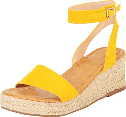 Cambridge Select Women's Single Band Ankle Strap Espadrille Chunky Platform Mid Wedge Sandal,8.5 B(M) US,Yellow ()