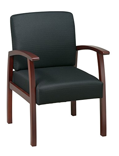 Office Star Deluxe Guest Chair with Cherry Finish  Base and Arms, Black Triangle Fabric - Fabric Cherry Finish