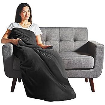 Sunbeam Heated Throw Blanket   Dual Pocket Microplush, 3 Heat Settings, Slate - 31160305