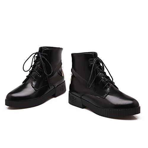 Bottines PU en femmes AgooLar Noir à lacets pour pIPqpxdOw