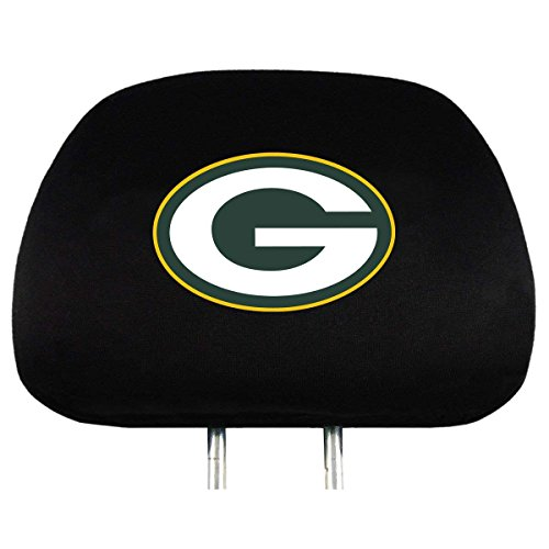 Infinity Stock NFL Embroidered Logo Head Rest Cover Universal Fit - Car Truck SUV & Van, Set Of 2, Auto Interior Accessories (Green Bay ()