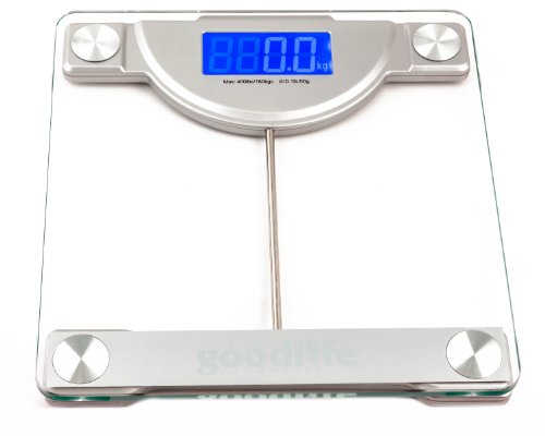 GoodLifeProducts Precision Digital Bathroom Weighing Scale w/ Extra Large Display, 400 lb. Capacity and 'Just Step' Technology, Ultra Wide Platform, Tempered Glass, Silver