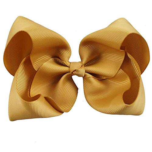 (2 Pcs/Lot 5 Inch 40 Colors Big Hair Bows Solid Soft Hairpins With Clip Grosgrain Ribbon Hairclips For Kids Hair Accessories dijon)