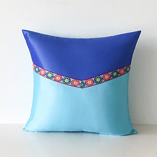 HOMEE I Love the Artist'S Original Mediterranean Living Room Blue Tower Poplin Stitching of Minimalist Solid Color Pillow Sofa Cushion ,30X50Cm, Birds Blue,Dark Blue,50X50cm