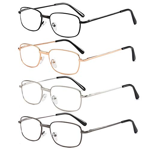 - REAVEE 4 Pairs Reading Glasses for Men Quality Metal Frame Spring Hinged Readers Eyeglasses with Case&Cloth - Choose Your Magnification