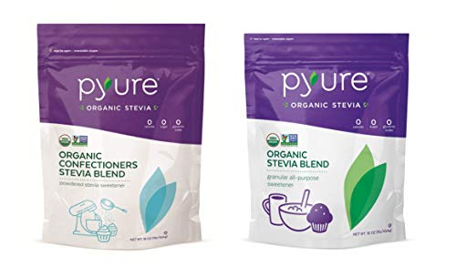 Pyure Organic Stevia Sweetener Blend, Baking Bundle, Granular and NEW Powdered Confectioners, Excellent for Cooking and Baking (2 Pack)