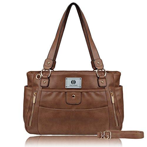 Genuine Leather Organized Tote Handbag - YOLANDO Womens' Vegan Leather Zipper Tote Bag Top-handle Handbags Large Capacity Ladies' Purse YT0024 (Coffee)