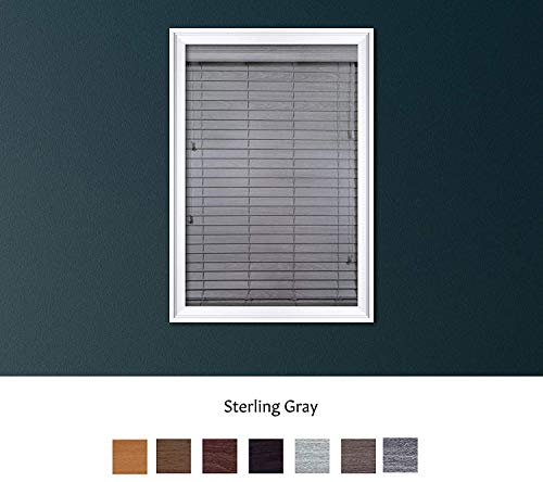 Luxr Blinds Custom Made Premium Faux Wood Horizontal Blinds W/Easy Inside Mount & Outside Mount Wood Blind – Size: 37X38 Inch & Wooden Color: Sterling Gray