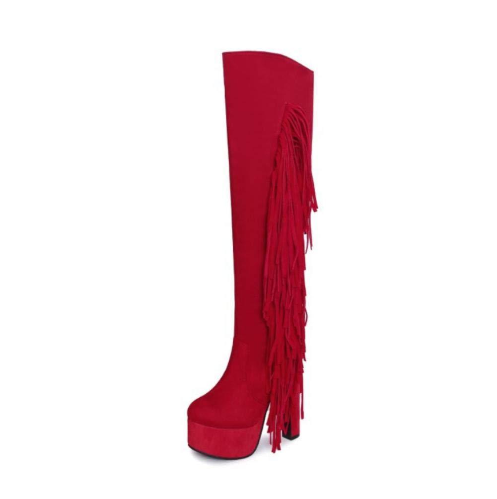 NVXUEZIX Damenschuhe Herbst Winter Komfort Stiefel Pfennigabsatz runde Kappe Kappe Kappe über Knie Quaste Flatform, us8   eu39   uk6   cn39 3307de
