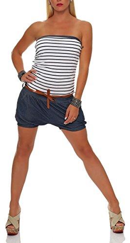 malito corto Jumpsuit en el marina Diseño Body Catsuit Playsuit Casual 9646 Mujer Talla Única blanco