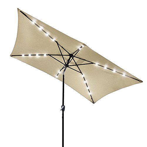 Yescom 10x6.5ft Rectangle Outdoor Patio Beach Market Aluminium Umbrella Solar Powered LED Light Crank Tilt Beige by Yescom