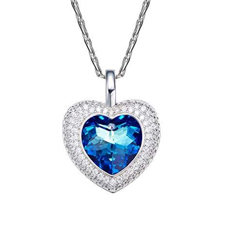 QWERST女性ネックレススターリングシルバーハート型ペンダントファッション絶妙なネックレス最高の贈り物A   B07NPQS861