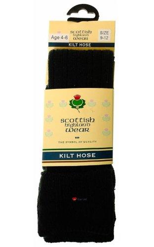 Boys Kilt Socks Wool Plain Black UK 6 to 8.5