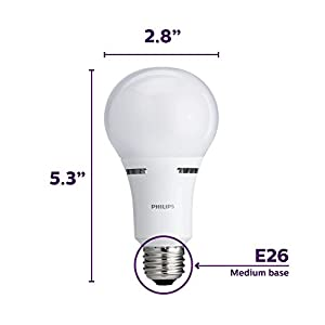 Philips LED 3-Way A21 Frosted Light Bulb: 1600-800-450-Lumen, 2700-Kelvin, 18-8-5-Watt (100-60-40-Watt Equivalent), E26D Medium Screw Base, Warm White, 2-Pack