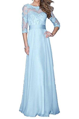 Formalkleider Himmel Spitze mia Festlichkleider Brautmutterkleider Langarm Fuer Chiffon Abendkleider Hochzeits Lang Braut Blau La w6avq7w