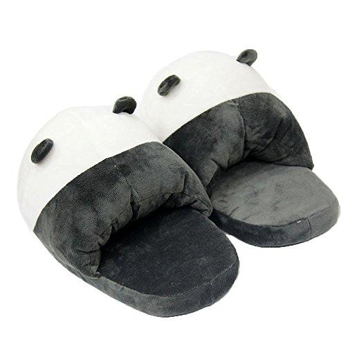 Leeh Sole Slippers Keep Cute Winter Plush Cartoon Warm Shoes Panda Cotton Half q1RFq