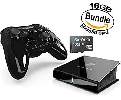 Mad Catz M.O.J.O. Micro-Console for Android 16GB Gaming and Media Box, Plus Extra 16GB MicroSD Card for Expanded (32GB Bundle)