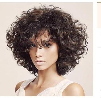 SHKY Pelucas naturales pelucas naturales de pelo corto con perlas de alta calidad para las mujeres