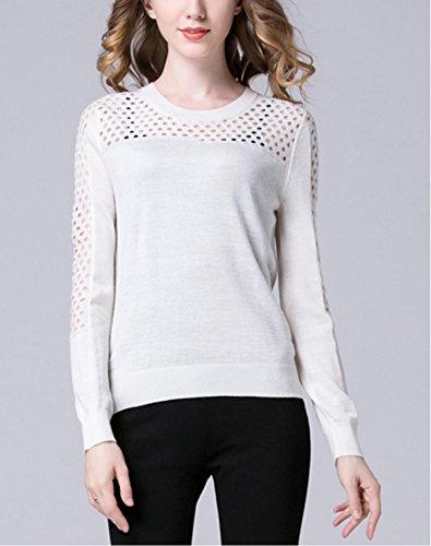 Short Tops Girocollo Chlxi The Pullover White Pierced Maniche Shirt New Allentato Maglione Hollow Lunghe 1q0t4E0