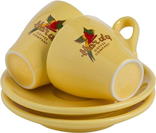 Milano Espresso Cups - 6 Retro Italian Espresso Cups with Saucers from Hardy Caffé, Milano (Yellow, Espresso)
