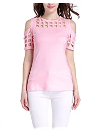 Zanuce Womens Hollow Cut Out Short Sleeve Casual Slim T-Shirt Tops