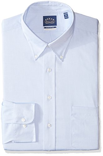 Non Iron Stretch Collar Solid Buttondown Collar Dress Shirt, Blue Mist, 19