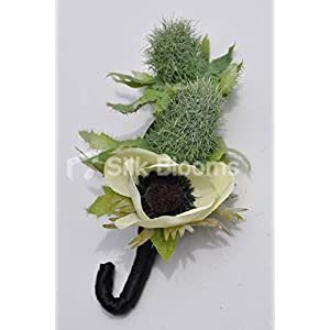 Artificial Green Double Thistle and Ivory Silk Anemone Buttonhole w/Twisted Stem 92