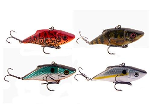 Crankbait- Rattling Fishing Lure (4 Pack Chrome, Perch, Craw, Shad) ()