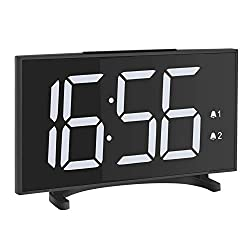 YISSVIC Led Clock 6.5 Inches Digital Alarm Clocks for Bedrooms with 6 Adjustable Brightness 24/12 Hour Setting Dual Alarms White Digits for Travel Office Desk Without Adapter