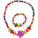 SmitCo LLC Jewelry For Kids, Little Girls and Toddlers, Bright Stretch Necklace, Ring, Bracelet Set