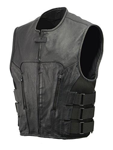 Mens Premium Leather Vest - Men's Leather SWAT Style Vest | Premium Natural Buffalo Leather | Patch Access Lining, New Outseam Gun Pocket, Adjustable Side Straps, Zipper Front Closure | Black Biker Vest (Black, 2X-Large)