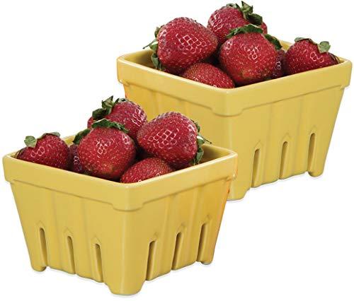 - Ceramic Fruit Stand Berry Basket (2, Yellow)