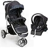 Carrinho 3 Rodas + Bebê Conforto Apollo Preto com Base - Galzerano