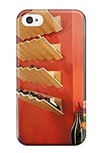 Tpu Case Cover Compatible For Iphone 4/4s Hot Case Orange Wall With Four Sculptural Wine Racks