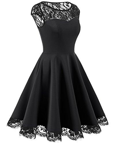 Black Encaje Vintage Cóctel Madrina Retro Fiesta Vestido Corto Mujer Homrain qxwvztOq