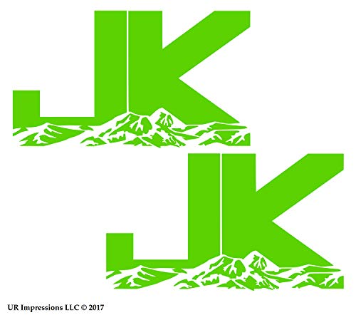 LGrn 6.3in. JK Mountains 2-pack Decal Vinyl Sticker Graphics for Jeep Wrangler 4x4 Unlimited Sahara Rubicon Moab Overland Arctic SUV Walls Windows Laptop|LIME GREEN|6.3 X 3.7 inch|URI687-LG (Laptops Green Lime)