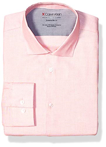 Calvin Klein Men's Dress Shirts Xtreme Slim Fit Solid Thermal Stretch, Ruby, 18