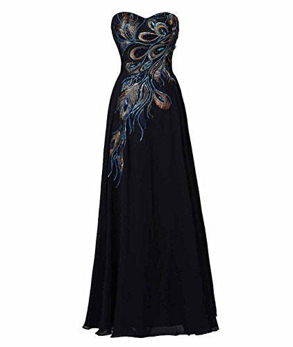 Exlinalesha Women's Long Strapless Embroidery Prom Dress A-line Black US10