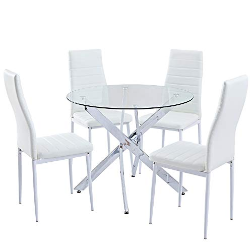 SICOTAS 5 Piece Round Dining Table Set,Modern Kitchen Table and White Chairs for 4 Person,Dining Room Table Set with Clear Tempered Glass Top, Dining Set for Dining Room Kitchen Furniture