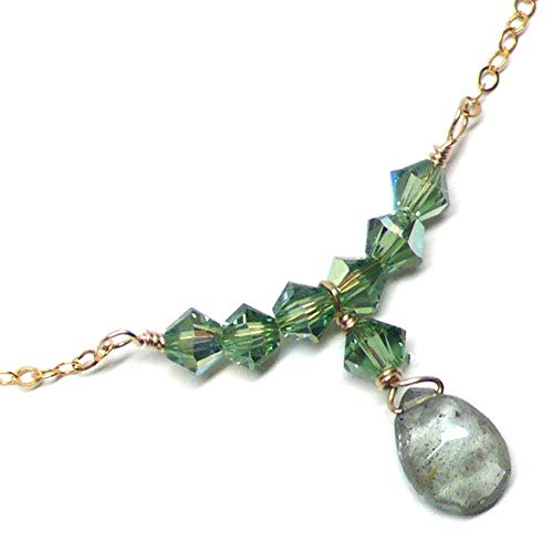 Moss Aquamarine Briolette Dainty Chain Bar Necklace Gold-Filled 17.5 Inches ()