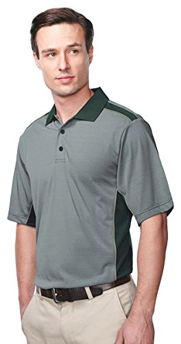 Tri-Mountain Men's Contrast Collar Stripe Polo Shirt, FOREST GREEN/SAGE, (Forest Green Sage)