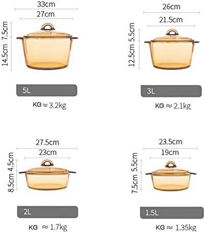 Ybzx Poêle en Verre résistant à la Chaleur 1.5L, marmite Durable en Verre Transparent à Deux poignées, Outils de Cuisson de Cuisine Transparent 1.5l
