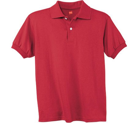 Hanes Youth Comfortblend Ecosmart Jersey Polo (Deep Red) (M) 054Y