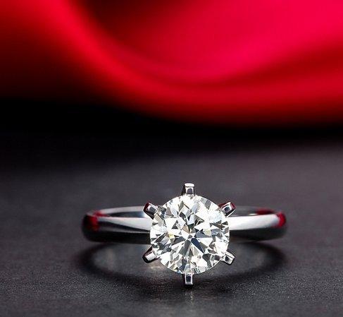 Gowe infinity Naturel Certifié 1.0CT I-j/SI Diamant Bague de fiançailles Round Cut Or blanc 18K