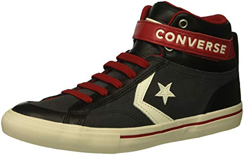 (Converse Boys' Pro Blaze Strap Suede High Top Sneaker Almost Black/EGRET/Turtledove 5 M US Big Kid)